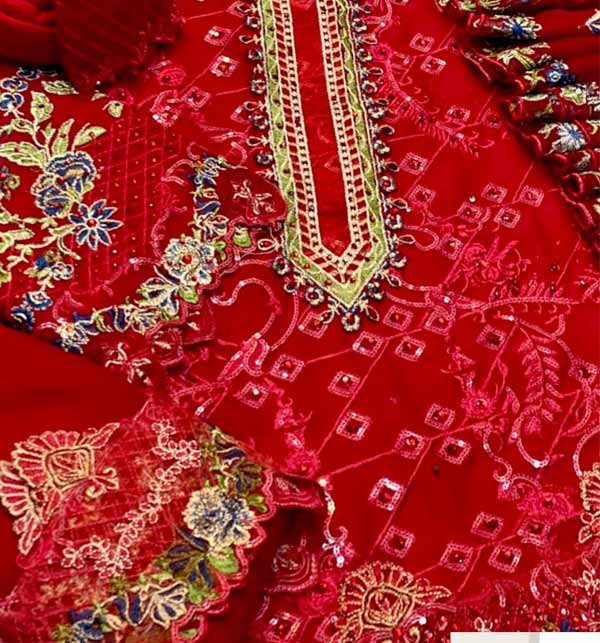 Chiffon Handwork Heavy Embroidered Dress With Embroidered Dupatta (CHI-500) Gallery Image 1