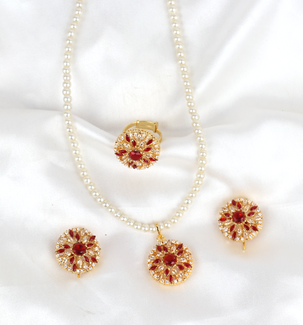 Pearls Jewellery Stone Set With Earing & Ring (PS-402) Gallery Image 1