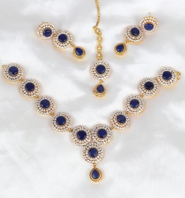 Stylish Zircon Necklace Set With Matta Patti (PS-404) Gallery Image 1