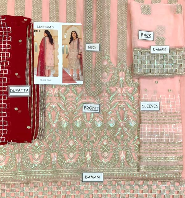 Fancy Chiffon Heavy Embroidered Dress With Chiffon Duppata (CHI-505) Gallery Image 1