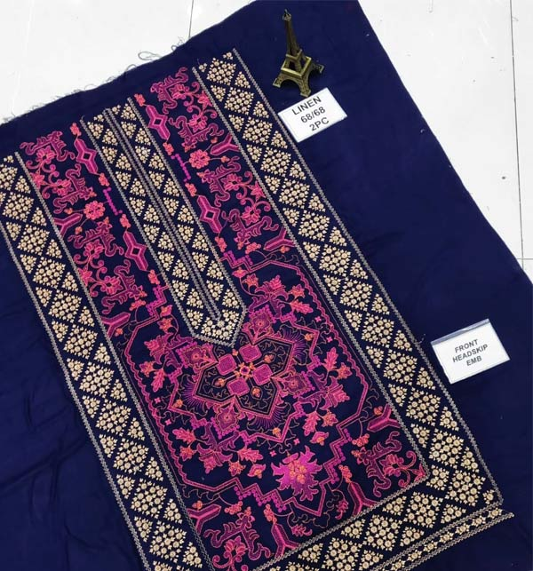 Latest Embroidered Linen 2 Pcs Dress 2021 (Unstitched) (LN-255) Gallery Image 2