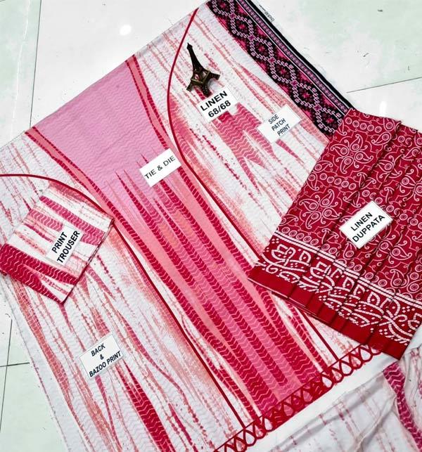 Linen Tie Dye Dreess Design 2021 With Printed Linen Dupatta (LN-261) Gallery Image 1