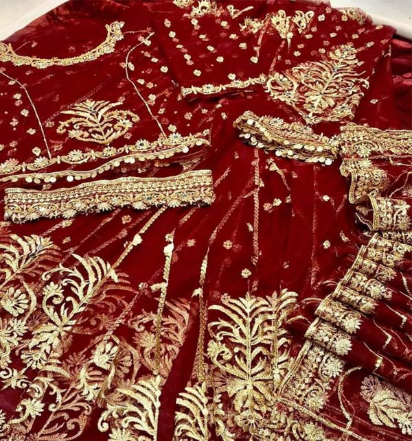 New Heavy Embroidered Dress With Net Embroidered Dupatta (CHI-507) Gallery Image 1