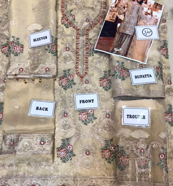 Masoori Full Emroidered Dress With Mahsori Embroidered Dupatta NET Emb Plazo Ghair Style (CHI-508) Gallery Image 3