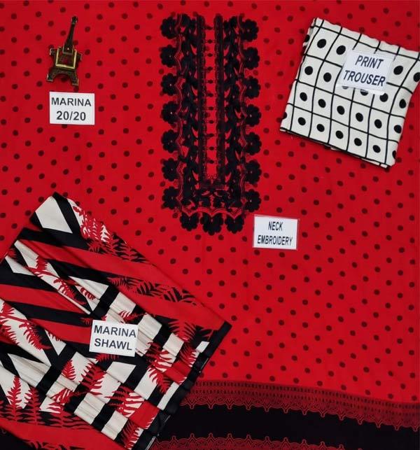 Marina Embroidered Dress With Marina Shawl Dupatta (KD-141) Gallery Image 1