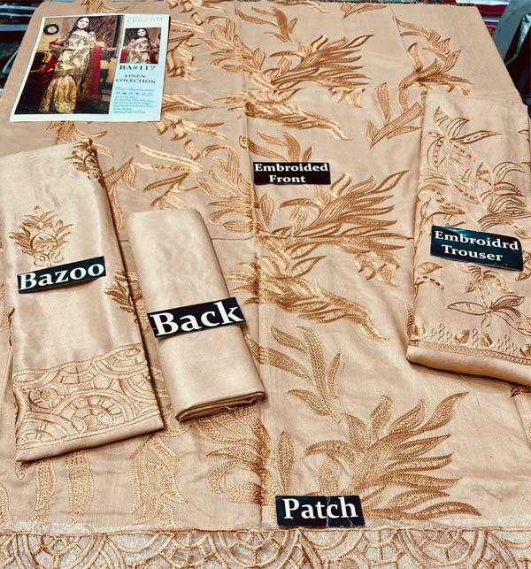 Linen Embroidered Dress With Embroidered Trouser 2 Pcs Dress (Unstitched) (LN-266) Gallery Image 1