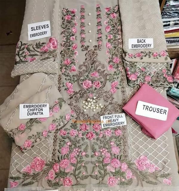 Chiffon Full Heavy Embroidered 3D Flower & Handwork Dress With Chiffon Dupatta (Unstitched) (CHI-514) Gallery Image 1