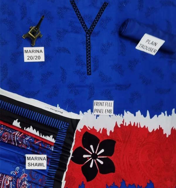 New Marina Embroidery Dress With Marina Shawl (Unstitched) (KD-148) Gallery Image 1