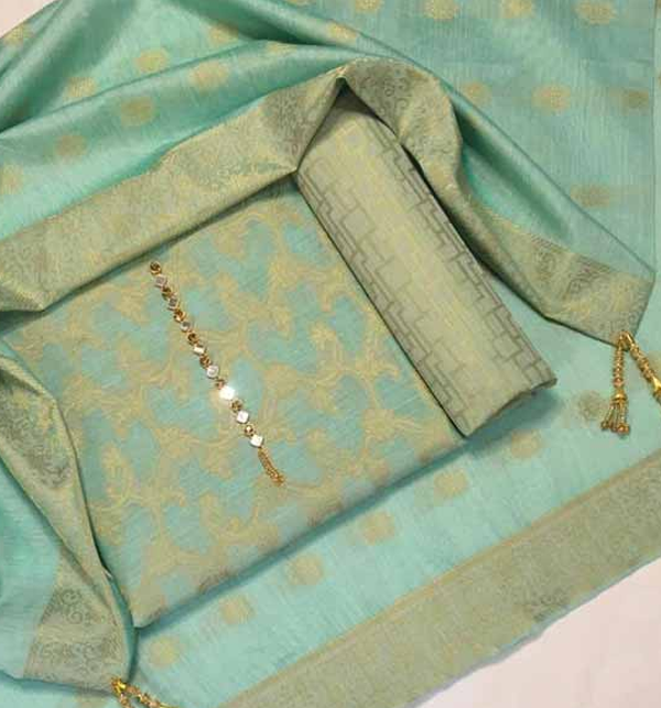 Banarsi Style Cotton Jacquard Suit with Cotton Jacquard Dupatta (Unsicthed) (Unsicthed) (DRL-948)