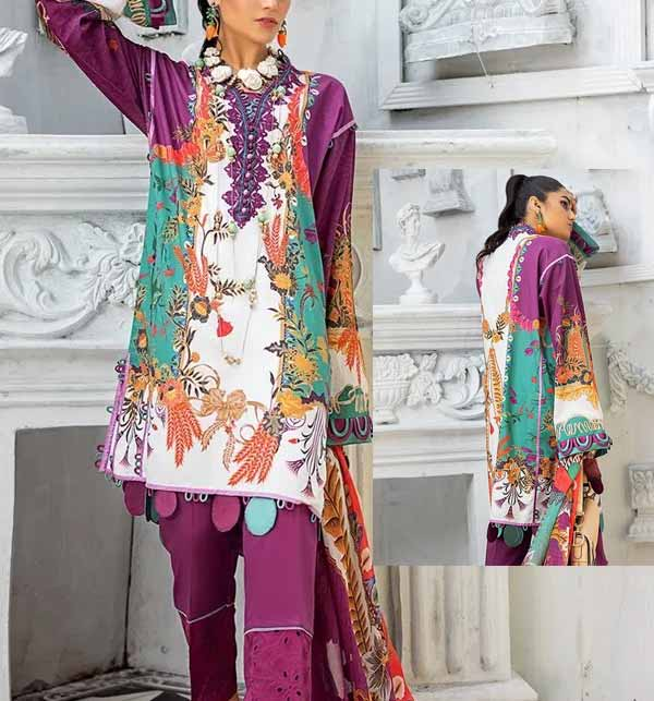 Eid Summer Embroidery Lawn Collection 2020 With Embroidery Trouser UnStitched (DRL-587)