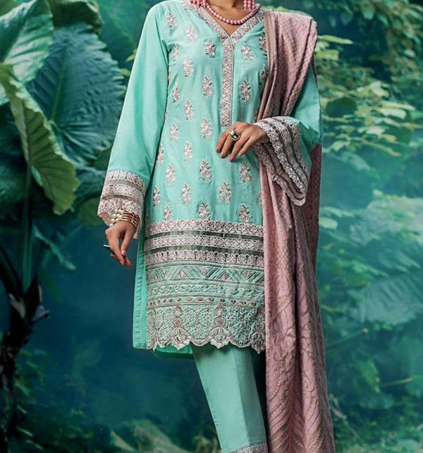 Embroidered Lawn Dress with Chiffon Dupatta UnStitched (DRL-585)