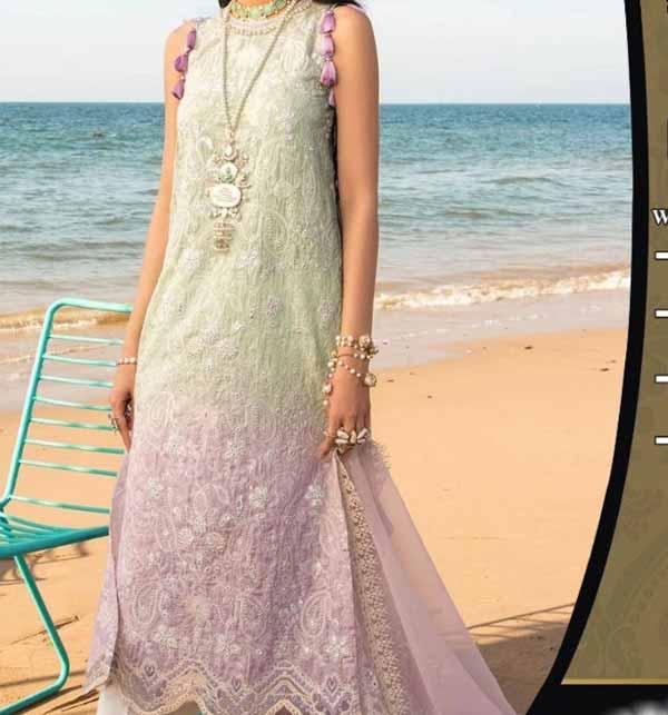 Luxury Schiffli Heavy Embroidered Lawn Suit With Chiffon Printed Dupatta (DRL-850)