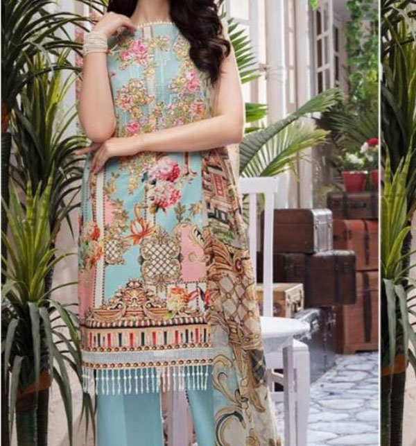 New Khadder Digital Embroidered Suit with Wool Dupatta - Winter Collection 2020 (KD-87) (UnStitched)