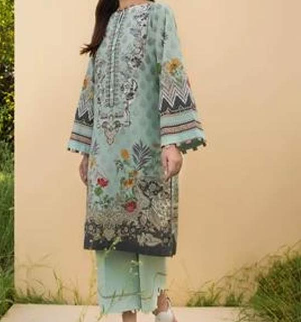 Linen Embroidered Dress with Wool Shawl Dupatta (LN-241)