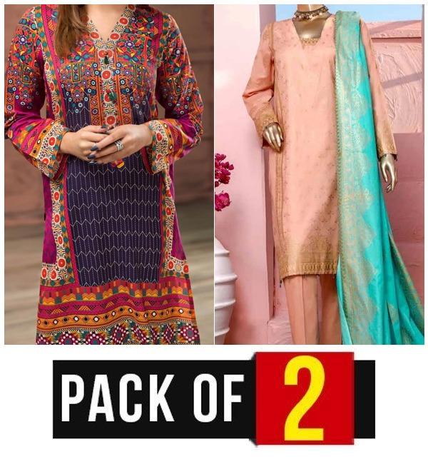 EID Sale - Pack of 2  Lawn Embroidery Dress & Block Print Banarsi  (MBP-01) & (DRL-418) Karachi Same Day Delivery