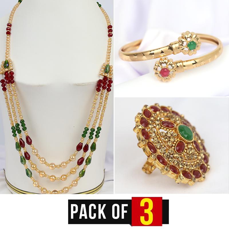 Pack Of 3 MALA + Ring + Bracelete