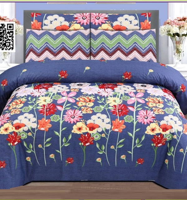 Pure Cotton King Size Bed Sheet With 2 Pillow Cover (BCP-55)