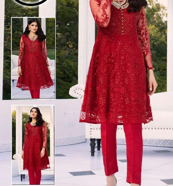 Heavy Full Embroidery Net Kurti With Inner (K-100) (Unsicthed)