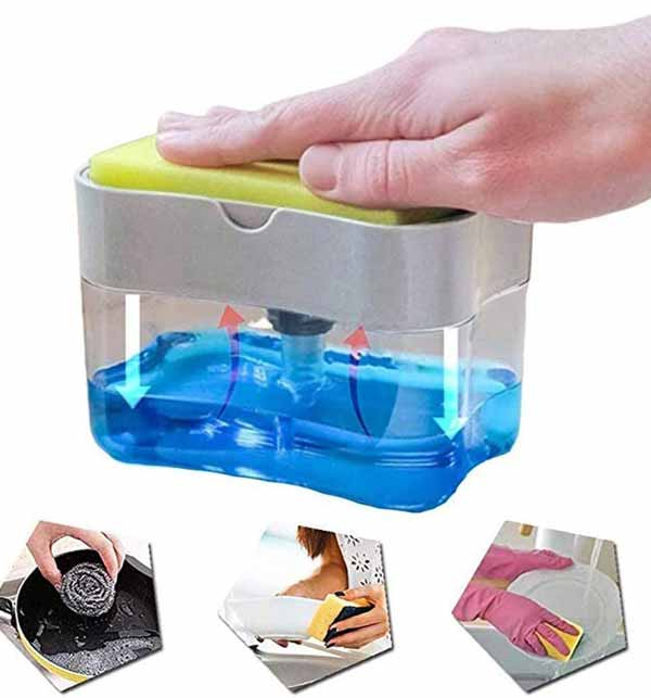 2 in 1 Soap Pump and Sponge Caddy - Kitchen Soap Pump Dispenser