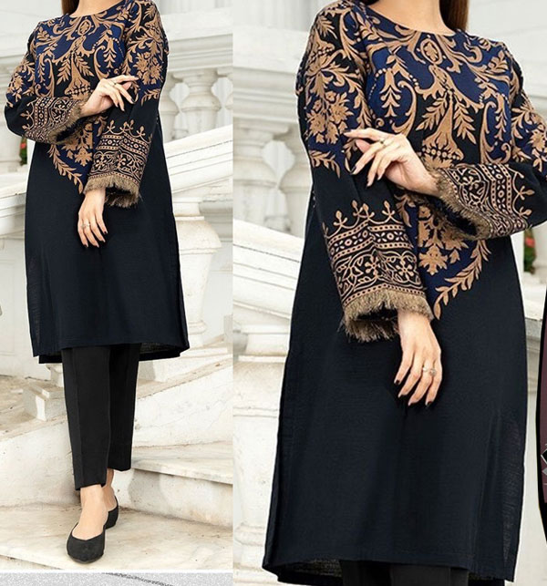 Heavy Embroidered Linen Suit With Embroidered Trouser 2-Pcs UnStitched (LN-156)