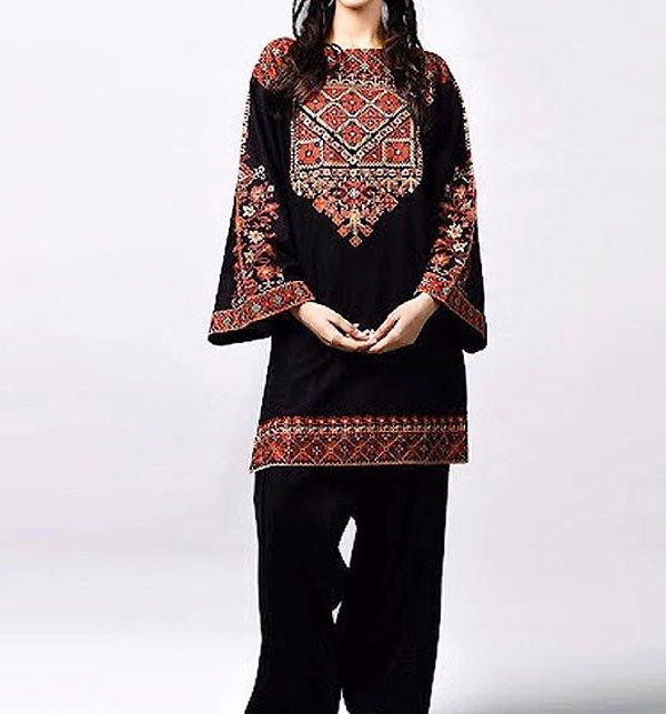 Linen Heavy Embroidered Black 2-Pcs Suit (Unsitched) (LN-134)