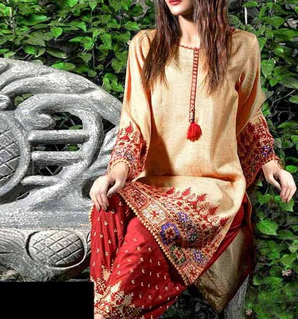 2-Pcs Embroidered Lawn Dress with Embroidered Trouser (DRL-774)