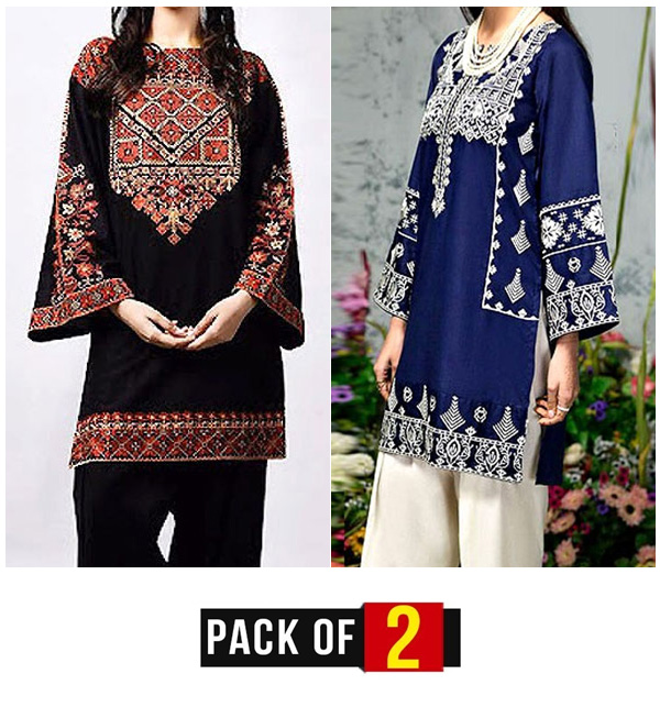 EID Pack Of -2 Law Full Heavy Embroidered Suit 2021 (Unsitched)  (DRL-488) &  (DRL-468)