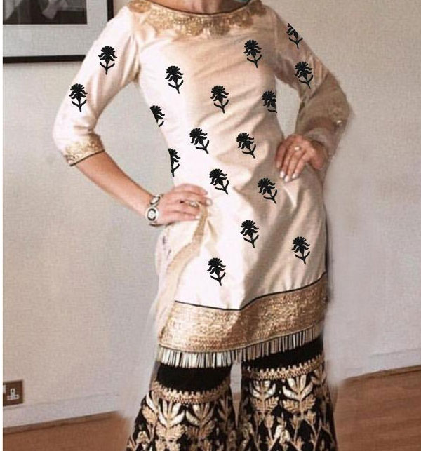 Linen Embroidered 2-Pcs Dress with Embroidered Trouser Unstitched (LN-107)