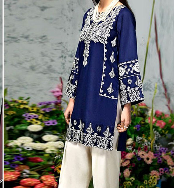 2-Pcs Embroidered Navy Blue Lawn Suit 2020  (DRL-488) (Unstitched)