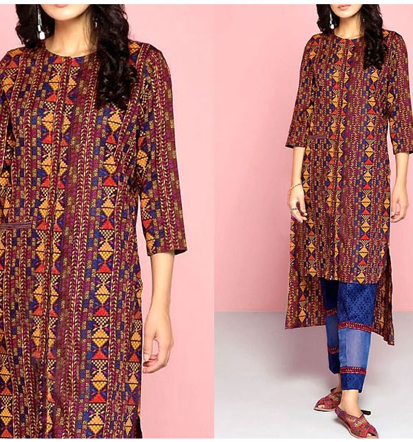 2-Pcs Full Front Heavy Embroidered Lawn Dress 2020 with Embroidered Trouser (UnStitched) (DRL-498)