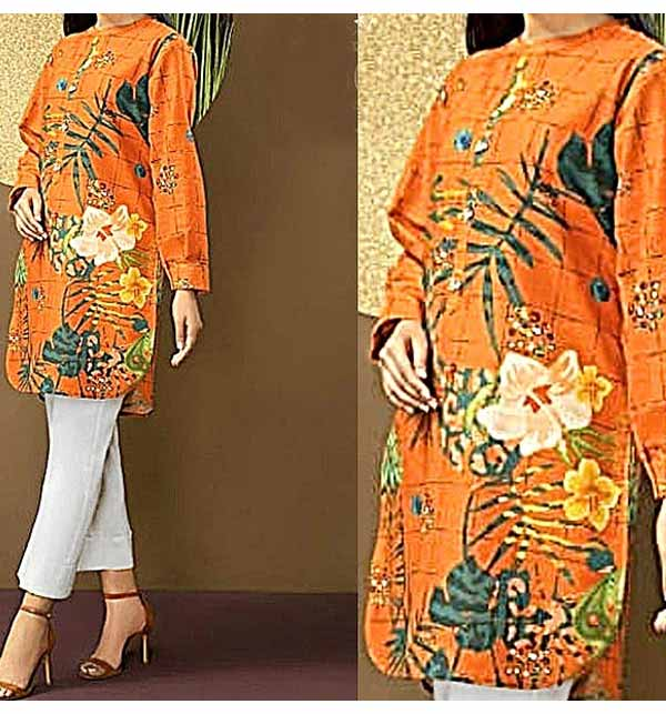 2-Pcs Heavy Embroidered Lawn Dress with Embroidered Trouser (2 Pieces) (DRL-926)