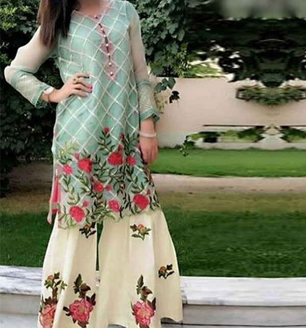 2-Pcs Sequins Full Embroidered Lawn Dress 2020 With Embroidered Trouser UnStitched (DRL-603)