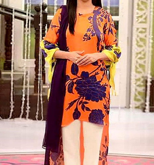(AZADI SALE)Lawn Sequence Heavy Embroidered Dress 2 Pec UnStitched (DRL-582)