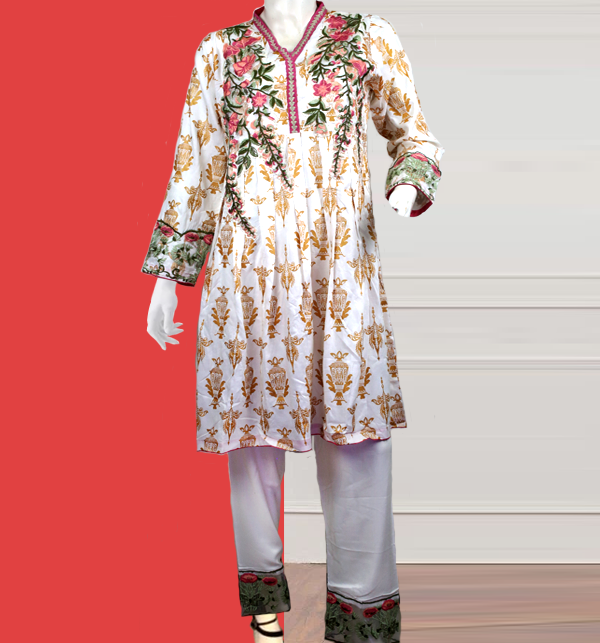 Stitched 2-Pcs Embroidered Boski Linen Suit with Embroidered Trouser  (LN-205)