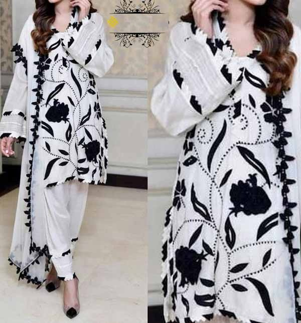 LINEN 2 Pieces Beautiful White & Black Embroidered Suit (Unsicthed) (LN-217)