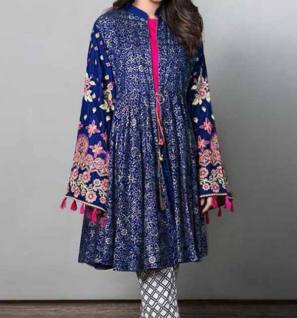 2 Pieces Embroidery Suit With Trouser Embroidery 2021 (DRL-701)