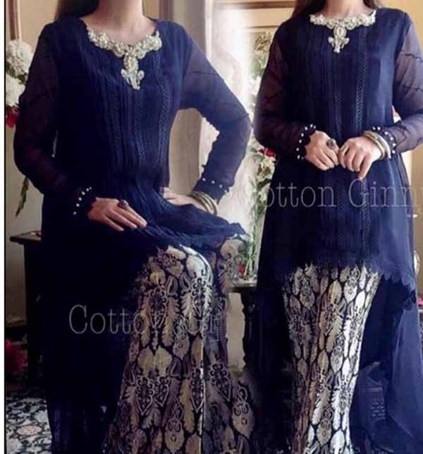 2 Pieces Embroidery Suit With Trouser Embroidery 2021 (DRL-702)