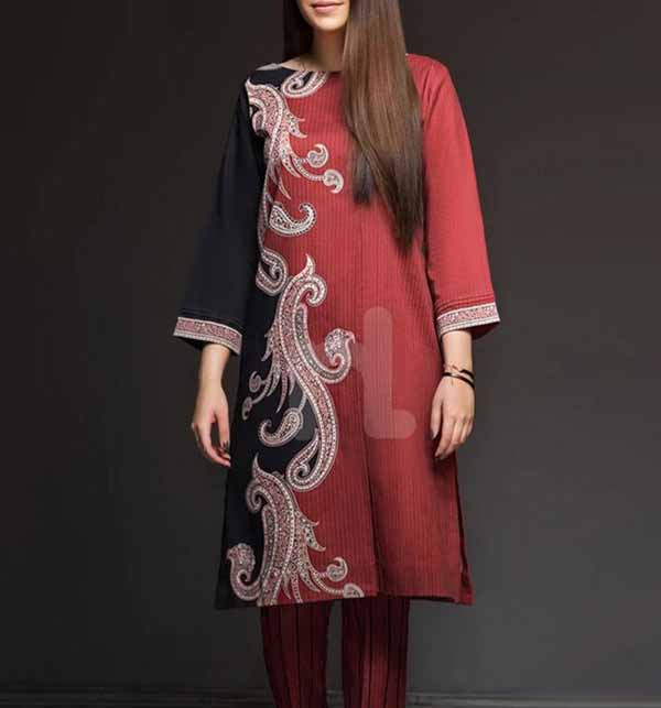 2 Pieces  Embroidery Suit With Trouser Embroidery (DRL-698)