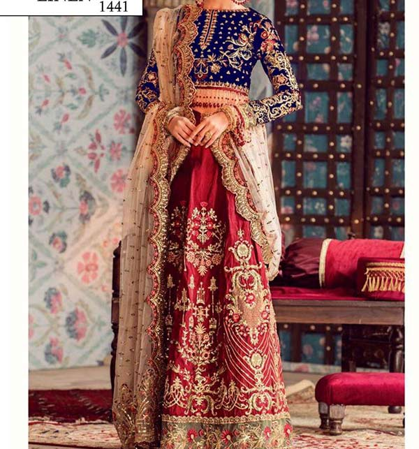 Linen Heavy Embroidery Suit With Trouser Embroidery  (LN-188)