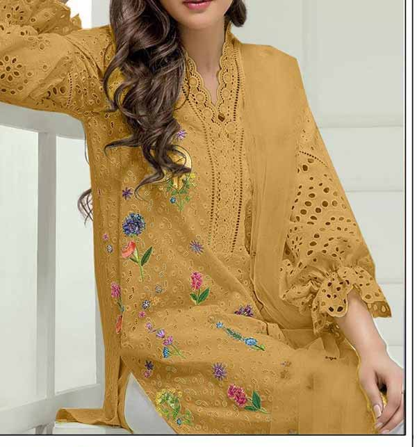 2 pieces Heavy Shefali Embroidered Lawn Suit Suit 2021 (DRL-855)