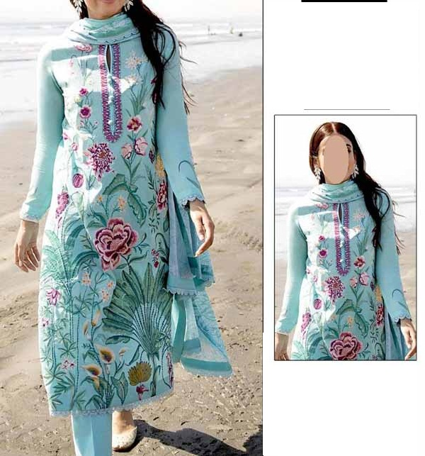 2 Pieces Lawn Embroidered Suit (Unsicthed)  (DRL-927)