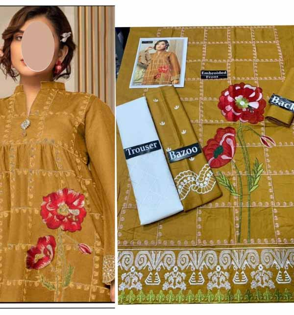 2 Pieces Lawn Embroidered Suit (Unsicthed) (DRL-939)