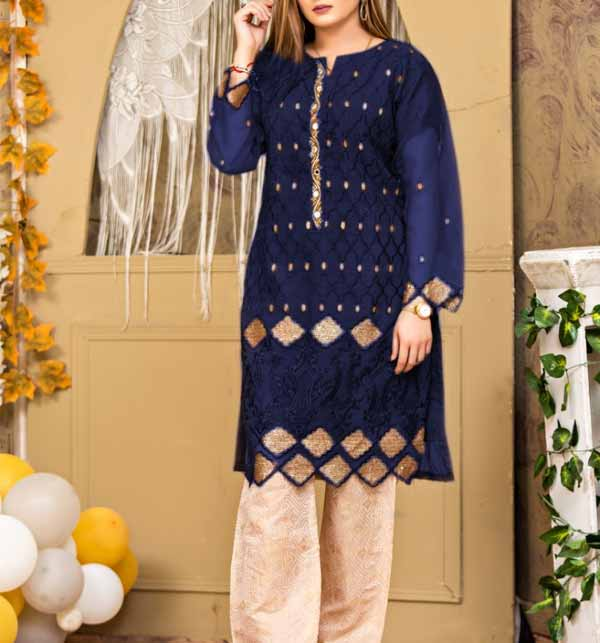 Stitched 2 Pieces Organza Sequence Embroiderey Handwork Suit  With Jamawar Trouser  (DRL-791)