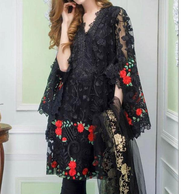 2PCS Black Net Embroidery Suit (Shirt+Trouser) Unstitched (CHI-344)