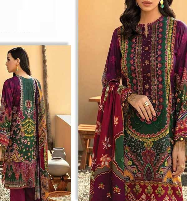 Lawn Digital Embroidered Lawn Suit With Chiffon Dupatta (Unstitched) (DRL-736)