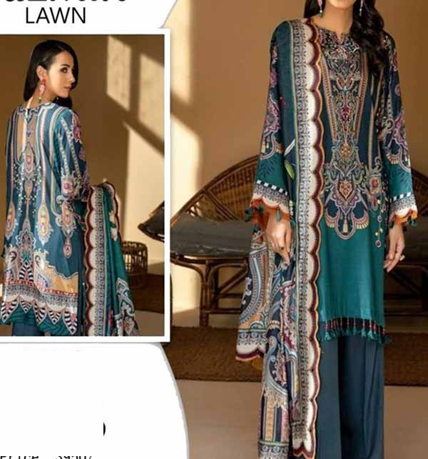 3 PCs Digital Neck Embroidered Lawn Suit With Chiffon Dupatta (Unstitched) (DRL-734)