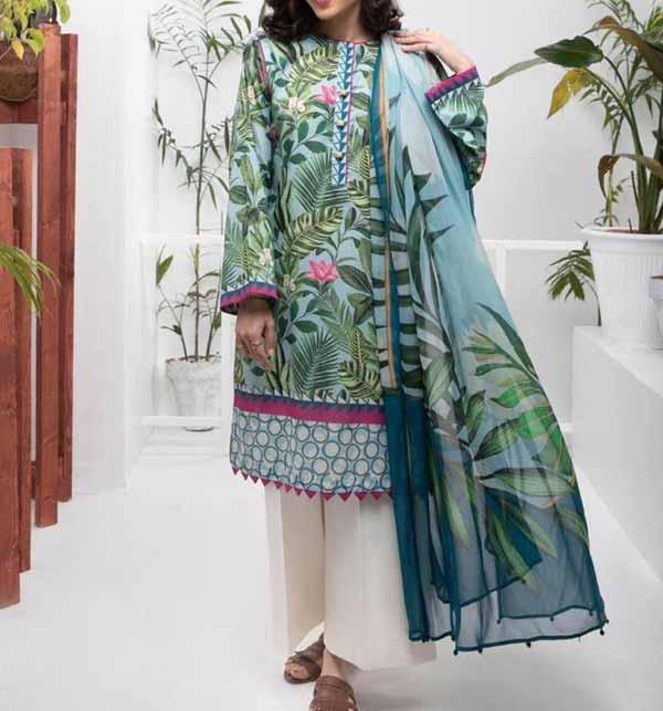 3 PCs Digital Printed Lawn Suit with Lawn  Dupatta  (DRL-818)