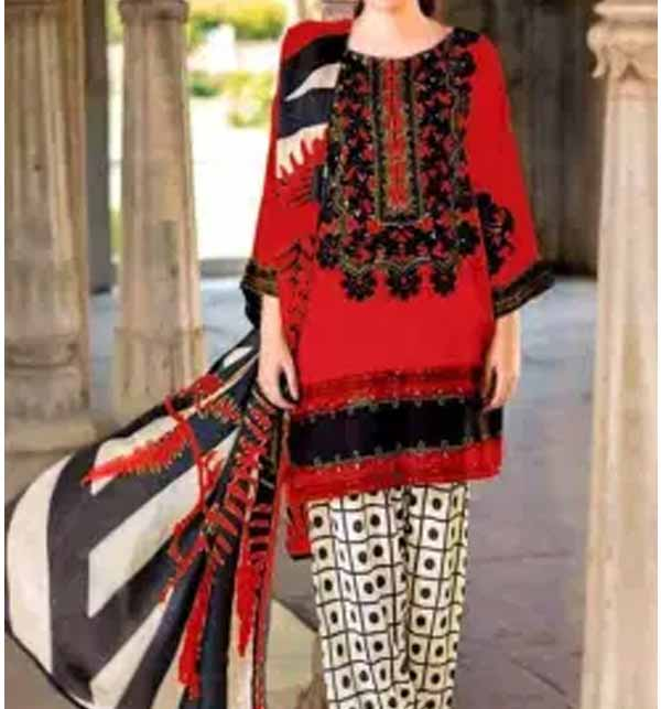 Lawn Suit with Chiffon Dupatta Unsitched (DRL-715)