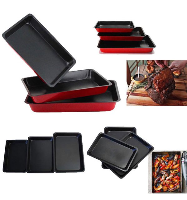 Non Stick Kitchen Set With Price: 3 Pcs Non-Stick Roast-N-Bake Pan Set Online Shopping
