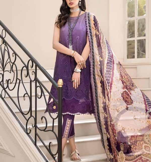 Eid Collection Schiffli Embroidered Lawn Suit Chiffon Dupatta 2021 UnStitched (DRL-802)